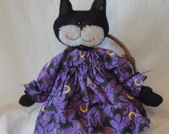 Primitive Black Halloween cat doll, Halloween cat, purple dress with black cats, hand made by Morning Mist Designs