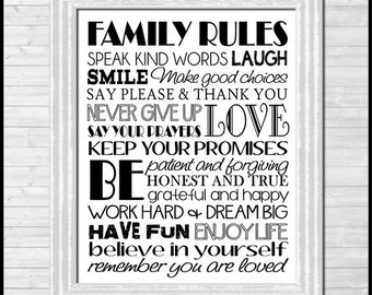 Family Rules Subway Art, Family Rules Sign, Wall Art, Family Motto, Housewarming Gift Idea, Family Sign, Art - Printable INSTANT Download