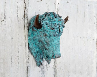 Bison Head~Mini Faux Taxidermy~Bison~Buffalo Decor~Nursery Animal Head~Patina
