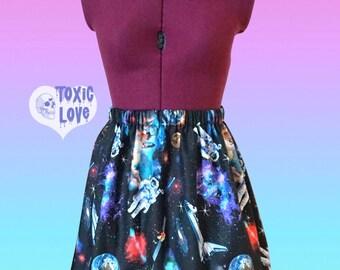 Galaxy Astronaut Skirt (xs, s, m, l, xl, xxl) nebula, space, outerspace, science, womens high waist skirt, ladies mini skirt, space pants