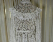 Vintage Sheer lace Cream Blouse CLEARANCE