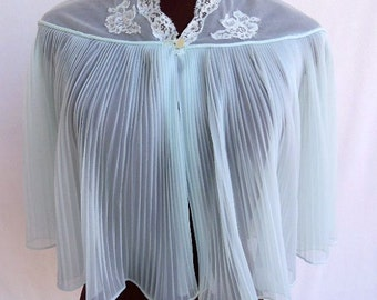 Vintage 50s 60s  Bed Jacket Aqua Pleated Chiffon Robe Lingerie