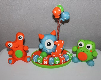 1 Large, 2 Small Custom Monster Cake Toppers for Birthday or Baby Shower