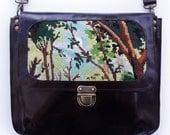 Dark brown messenger over the shoulder bag, vintage needlepoint purse, large leather crossbody bag for women