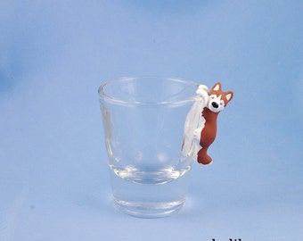 Hand Sculpted Siberian Husky 1.5 oz Shotglass