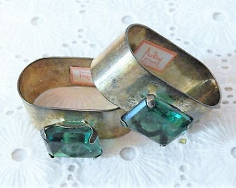 Unique Vintage Silverplated Napkin Rings with Big Bold Emerald Green Glass