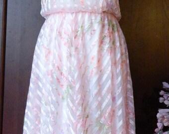 70s Sexy Handkerchief Dress~CHEVRON Satin Stripe Accent~Soft Pink Floral Size 11/12~Modern 4
