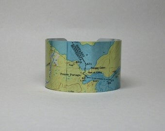 Prairie Portage Boundary Waters Canoe Area Minnesota Map Cuff Bracelet Unique Gift for Men or Women