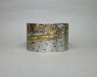 Jones Beach Tobay Zachs Bay Long Island Nautical Map Cuff Bracelet