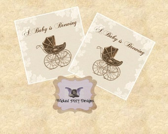 A Baby is Brewing Favor Tags Sheet - INSTANT DOWNLOAD - Carriage Stroller Printable Digital Sheet - Shower Stickers Cupcake Toppers Tea