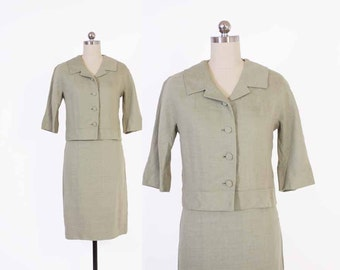 Vintage 60s SUIT / Early 1960s Sage Green Tailored Blazer Jacket & Pencil Skirt Set XS