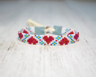 Seed Bead Ruby Heart Bracelet - Beaded Bracelet - Flower Bracelet - Valentine's Day Bracelet - Adjustable Bracelet - Loom Bracelet