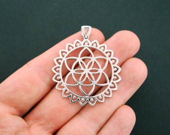 1 Seed of Life Pendant Charm Antique Silver Tone Large Size - SC5925