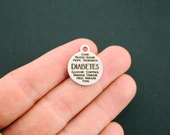 Diabetes Stainless Steel Charms - Word Collage Charms - Exclusive Line - Quantity Options - BFS1420