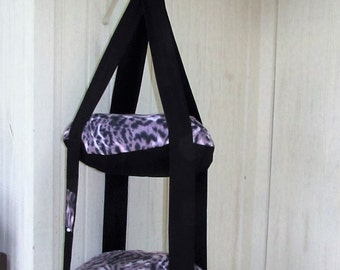 Cat Bed, Fleece Purple Wild Animal Print Kitty Cloud, Double Hanging Cat Bed, Pet Furniture, Pet Gift, Pet Bed, Cat Lover