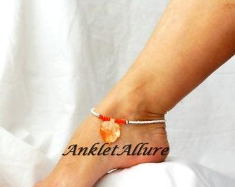 Cruisin Hawaiian Orange Leaf Beach Anklet Shell Ankle Bracelet Cruise Vacation Anklet Summer Ankle Bracelet
