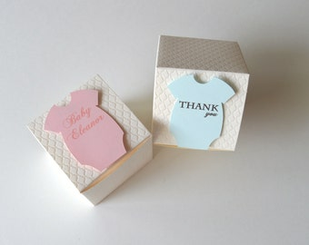 Custom Baby Onesie Quilted Favor Boxes- Set of 10