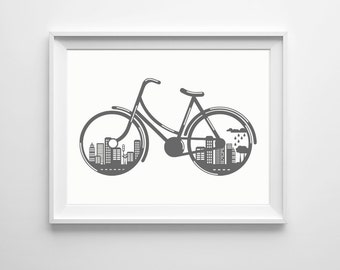 Bicycle Nursery Art , Transportation Nursery Art Grey , Office Bike Art , Large Wall Art Office Gray , City Environment Green Wall Art Bike