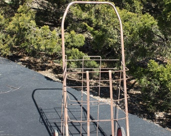 Vintage Metal Wire Shopping Cart Rusty Folding Collapsible
