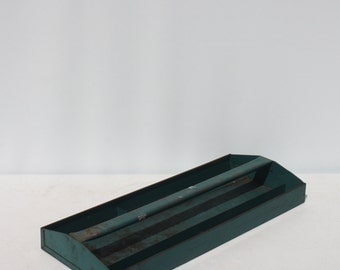 Vintage Metal Tote Tool Box Tray Tool Caddy Teal Storage Industrial Rustic Primitive Country Farmhouse Garden Decor