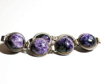 Coin Silver Bracelet- Purple Bracelet- Stone Bracelet- Link Bracelet- 1970 Fashion- Vintage Stone- Marble Links- Boho Style- Hippie Bracelet