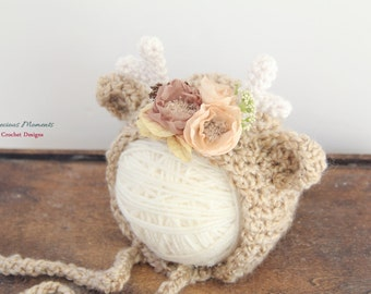 Reindeer Hat, Newborn Reindeer, Reindeer Bonnet, Christmas Hat, Newborn Photo Prop, Beige Reindeer, Reindeer with Flowers, Holiday Hat, Baby