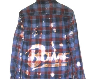 David Bowie Shirt in Blue Plaid Flannel. Black dyed burgundy purple acid wash 80s pop glam rock music icon culture stardust rock n roll