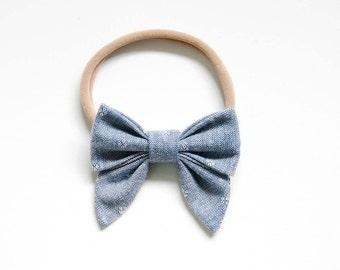 Chambray || Mini Sailor Bow || Clip or Headband