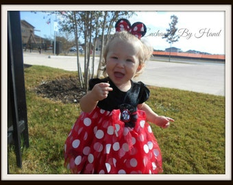 Minnie Mouse Inspired Hair Bow Clip for ponytail Great for Disney Trips Halloween Birthdays