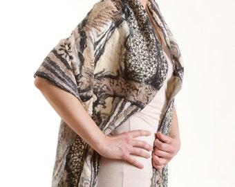 Art to wear, Nuno Felted Scarf, wrap OOAK Wearable Art,