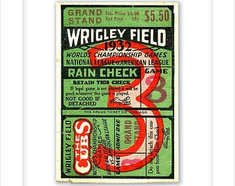 Wrigley Field - 1932 World Series - Game 3 ticket stub print - 8x10, 11x14 or 16x20 print - Chicago Cubs World Series ticket - Cubs fan gift