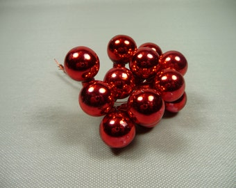 Red Vintage Mercury Glass Ball Ornaments Wired Picks for Christmas Decorations Crafts Bunch of 12 NOS