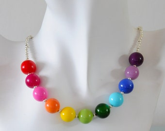 Rainbow Necklace - Chunky Czech Glass Beaded Multicoloured Necklace Bright Colourful Gift for Her by Emma Dickie Design