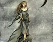 "Sale: Original Fairy Art Print, Celestial Faery, Fantasy Artwork, Crescent Moon, Medieval Maiden, Elf Maiden, Dark Fairy, ""Ready To Jump"""