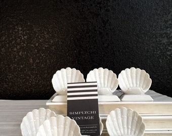 vintage white seashell table name card holders / set of 7