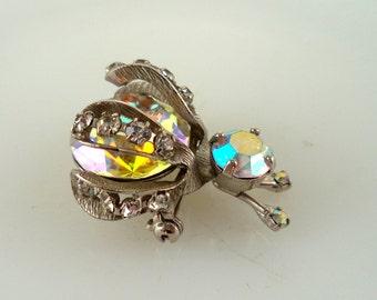 Mid Century Retro Vintage Signed Warner Bug Pin Brooch Insect Figural AB Rhinestones Silver Tone