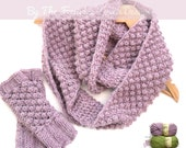 Cowl scarf & gloves kit , knitting instructions and acrylic wool yarn , easy knit kit
