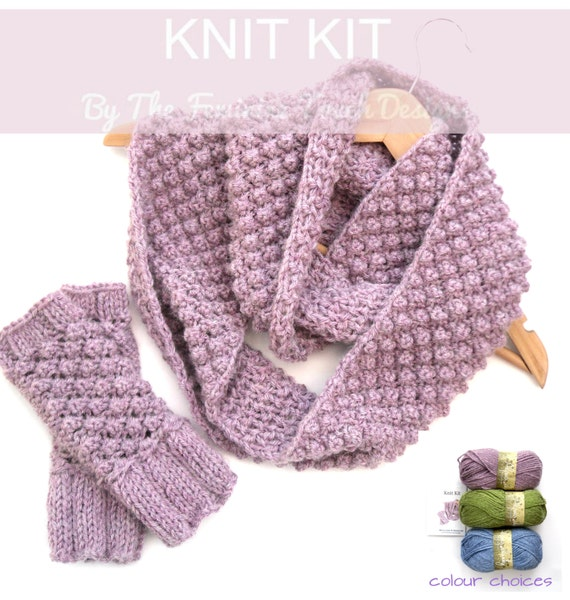 Scarf Knitting Kits Uk : Cowl scarf gloves knitting kit diy crafty knit