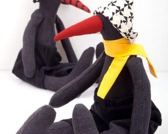 stuffed black bird doll in red beak, stuffed eco toy in retro geometric cross hat ,black corduroy & yellow scarf -  handmade fabric doll