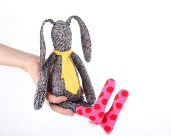 Easter bunny doll SMALL doll - gray woven pure silk stuffed bunny , plush rabbit doll in yellow tie & pink red dotted socks - handmade doll