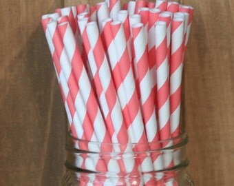 Coral Paper Straws, 50 Stripe Straws, Coral Drinking Straws, 50 Beverage Straws Cake Pop Sticks, Made in USA Wedding, Baby Shower, Party