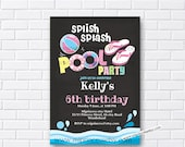 pool party invitation, Birthday Invitation, summer swimming party , splish splash, 1st 2nd 3rd 4th 5th 6th 7th 8th 9th 10th - card 619