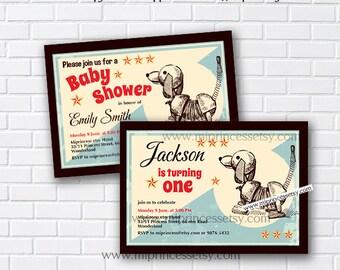 dog invitations, toy dog Birthday Invitation for any age 1st 2nd 3rd 4th 5th 6th 7th 8th OR baby shower, kids Invitation - card 396