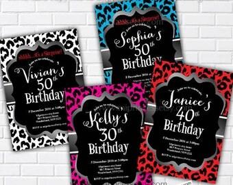Leopard birthday invitation, Animal print design invitation for any age 16th 18th 20th 30th 40th 50th 60th 70th woman - card 289