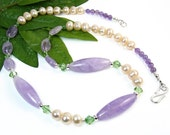 Amethyst Necklace, Freshwater Pearl Necklace, Pearl Gemstone Necklace, Purple Necklace, Statement Jewelry, Peridot Crystals, Nature Inspired
