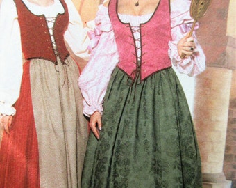 Butterick 6196 Sewing Pattern, Historical Costume, Cosplay, Renaissance Outfit, Ren Fair, Bust 30.5 to 32.5, Boned Vest, Wench Long Skirt