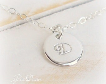 Sterling Silver Initial Necklace Personalized Monogram , Handmade, Custom Hand Stamped, 3/8ths inch Thick 20 Gauge, Script initial