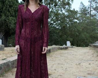 SALEM Rad 90s Lace Vamp Dress Vintage Purple Button Down