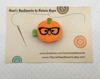 Nerdy Pumpkin Hair Clip- Halloween Hair Clip- Felt Hair Clips