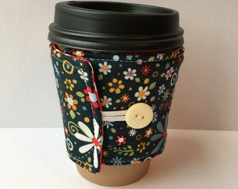 Coffee Cozy- Small Floral Coffee Cup Sleeve- Reusable Fabric Cup Sleeve